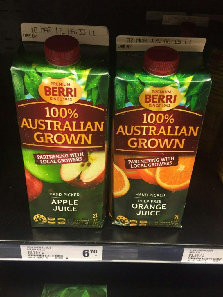 オーストラリア ジュース